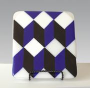Vladimir Bulatov Blue White Black Pattern #1 (Fused Glass)